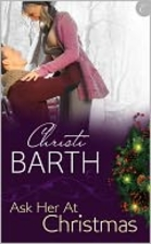 cover art for Ask Her At Christmas, featuring a white man lifting a white woman into the air above a purple splash on which the title is written