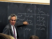 Author photo. Thomas Nagel teaching an undergraduate course in ethics at New York University.