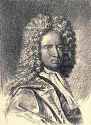 Author photo. Portrait of Daniel Defoe by T.R. Way Lith (after Vandergrucht). Frontispiece from Defoe (1909) by Daniel Defoe and John Masefield.