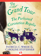 cover art for The Grand Tour, featuring the silhouette of a horse-drawn carriage and a painting of a few flowers against a parchment background, with a quill pen and a pot of ink arrayed overtop