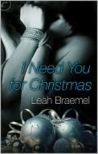 "cover art for I Need You For Christmas, featuring the torso of a blue-tinged woman with her arms bound before her and drawn tight up against her chest. She""s positioned above an assortment of three blue-tinged glass balls"
