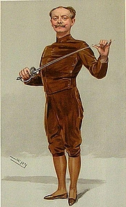 "Author photo. ""He insists that his pen is mightier than his sword"" Castle as caricatured by Spy (Leslie Ward) in Vanity Fair, March 1905"