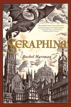 cover art for Seraphina by Rachel Hartman, featuring a sepia-toned woodcut of a dragon in flight above a medievalesque city
