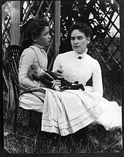 Author photo. Photograph of Helen Keller at age 8 with her tutor Anne Sullivan on vacation in Brewster, Cape Cod, Massachusetts by a Family member of Thaxter P. Spencer