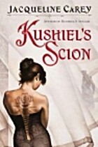 cover art for Kushiel's Scion by Jacqueline Carey, featuring a dark-haired white woman facing away from the audience. She has a large, black rose tattooed across her back and is wearing a black corset that partially covers it
