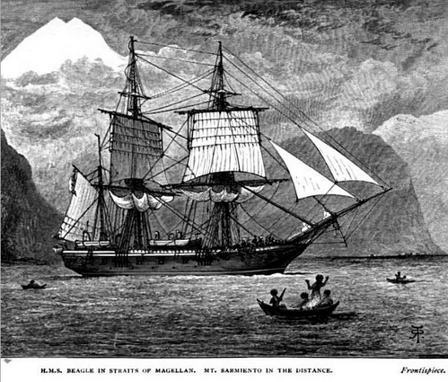 H.M.S Beagle in Straits of Magellan from LibraryThing