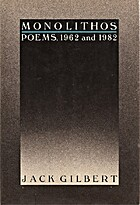 Monolithos Poems, 1962 and 1982 by Jack…
