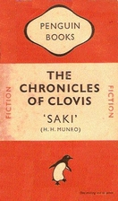 "Cover for The Chronicles of Clovis, featuring two horizontal orange bars framing a white bar on which the title is written. The legend ""Penguin Books"" appears in the top bar, while there""s a dancing penguin in the bottom one."