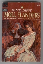 Cover art for Moll Flanders, featuring a vintage pastel drawing of a dark-haired white woman wearing a pale green dress with wide skirts. She's lounging backwards suggestively with her hands draped close to her crotch, but not quite so close that the image becomes overtly pornographic. A plump white man wearing a blue coat and a long, white wig sits a small distance behind her. The background is primarily in tones of brown.