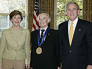 Author photo. 2006 National Medal of Arts recipient and literary translator Gregory Rabassa with President and Mrs. Laura Bush <br>White House Photo by Paul Morse
