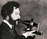 Author photo. Alexander Graham Bell (1847-1922)<br> speaking into telephone, 1876<br> (Wikipedia Commons)
