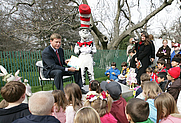 """Author photo. Hall of Fame football player Troy Aikman reads """"One Fish, 2 Fish, Red Fish, Blue Fish"""" for children at the reading nook at the 2008 White House Easter Egg Roll, Monday, March 24, 2008. White House photo by Chris Greenberg  (whitehouse.gov)"""
