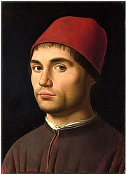 "Author photo. Antonello da Messina - Ritratto di uomo - Natinal Gallery, London (supposto autoritratto). <a href=""https://it.wikipedia.org/wiki/Ritratto_d%27uomo_"" rel=""nofollow"" target=""_top"">https://it.wikipedia.org/wiki/Ritratto_d%27uomo_</a>(Antonello_da_Messina_Londra)#/media/File:Antonello_da_Messina_-_Portrait_of_a_Man_-_National_Gallery_London.jpg"
