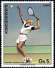 Author photo. Airmail stamp of Paraguay, Martina Navrátilová, 1986