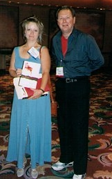 Author photo. Lynn Hightower with Jim Veatch at American Library Association annual meeting in NYC