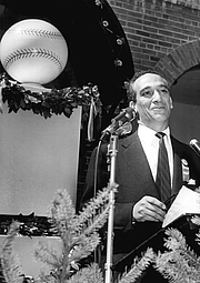 Author photo. Shirley Povich at Cooperstown, 1955.