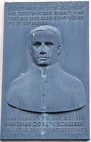 Author photo. Mathias Joseph Scheeben Memorial Plaque, Cologne, Germany. Photo by user Tohma / Wikimedia Commons.