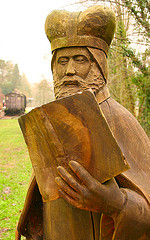Author photo. Statue of Geoffrey of Monmouth, Tintern, Wales.  Photo © user Canis Major / Flickr.