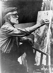 Author photo. The artist Aldo Carpi, survivor of the Gusen camp, painting in his studio in Milano.