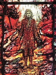 Author photo. Thomas Traherne, depicted by Tom Denny, as part of a series of stained-glass windows at Hereford Cathedral