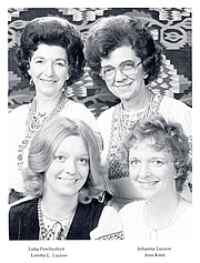 Author photo. Ann Kmit with Luba Perchyshen, Loretta Luciow and Johanna Luciow