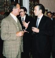Author photo. Count Nikolai Tolstoy (left) with Kyrill of Bulgaria, Prince of Preslav, 1996.