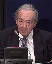 Author photo. George Steiner speaking at The Nexus Institute, The Netherlands