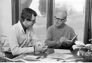 Author photo. James A. Michener and Errol Lincoln Uys working together on the book The Convenant
