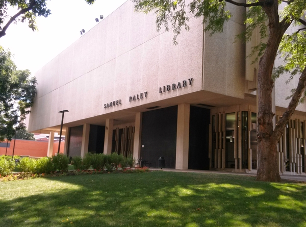 The outside of Samuel Paley Library.