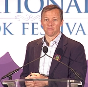 Author photo. Matthew Desmond discusses Evicted: Poverty and Profit in the American City at the 2017 Library of Congress National Book Festival in Washington, D.C.