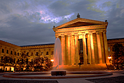 Author photo. The front facade of the Philadelphia Museum of Art at night