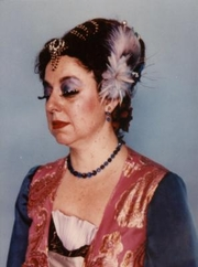 """Author photo. Adrienne Martine-Barnes at Costume Con 3 in 1985 wearing """"Tea Party Gown from Planet Glitzy"""""""