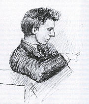 Author photo. Drawing (1885) by Frederik van Eeden (1860-1932)
