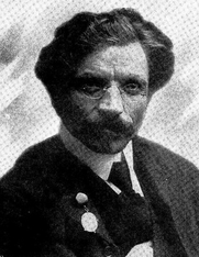 Author photo. Image from <b><i>In Ameriḳa Moṭl Peysi dem ḥazn's un andere mayśes̀</i></b> (1918) by Sholem Aleichem