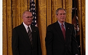 Author photo. G. Brent Dalrymple receives the National Medal of Science in 2003 (National Science Foundation)