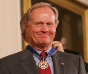 Author photo. President Bush presents PGA champion Jack Nicklaus with the Presidential Medal of Freedom Wednesday, Nov. 9, 2005, during ceremonies at the White House. White House photo by Shealah Craighead