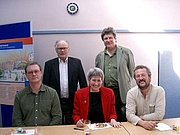 Author photo. The original Medieval Murderers: left to right, CJ Sansom, Bernard Knight, Susanna Gregory, Philip Gooden and Michael Jecks; the missing members are Ian Morson, who was sadly abroad at the time of the photograph, and Karen Maitland, the group's newest recruit.