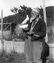 Author photo. Will Seymour Monroe with Birds, undated [Photographer: Herbert Wheaton Congdon; credit: University of Vermont Libraries]