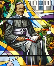 Author photo. Blessed Anton Martin Slomšek, Stained-Glass Window, Maribor Cathedral, Maribor, Slovenia.  Photo by user Janezdrilc / Wikimedia Commons.