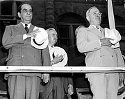 """Author photo. Gallegos (left) with Harry S. Truman. <a href=""""http://www.trumanlibrary.org/photographs/view.php?id=19247"""">Harry S. Truman Library & Museum</a>"""