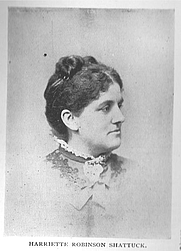 Author photo. Harriette (Robinson) Shattuck (b.1850), Buffalo Electrotype and Engraving Co., Buffalo, N.Y.