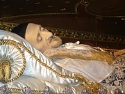Author photo. The Embalmed body of St. Vincent de Paul.  Photo by user FLLL / Wikimedia Commons