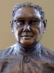 Author photo. Bust of Haridas Chaudhuri by Jan-Michelle Sawyer Source: Photograph created by J. Ash Bowie taken at CIIS Main Building, 4th floor Date: 2008-07-28.