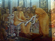 "Author photo. Buddhaghosa with three copies of Visuddhimagga, Kelaniya Raja Maha Vihara. By Photo Dharma - <a href=""https://www.flickr.com/photos/anandajoti/20442865375"" rel=""nofollow"" target=""_top"">https://www.flickr.com/photos/anandajoti/20442865375</a>, CC BY 2.0, <a href=""https://commons.wikimedia.org/w/index.php?curid=45307938"" rel=""nofollow"" target=""_top"">https://commons.wikimedia.org/w/index.php?curid=45307938</a>"