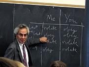 Author photo. Thomas Nagel teaching an undergraduate course in ethics at New York University.