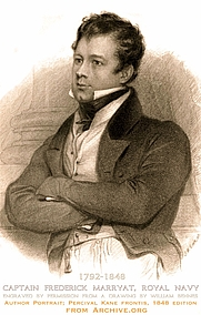 Author photo. Capt. Frederick Marryat, Royal Navy (Author. UK,1792-1848). Author portrait (frontis) from the the nautical novel, Percival Kane, 1848 edition. Engraving from a William Behnes drawing. Public Domain Book available for FREE download at Archive.org