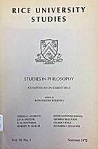 Studies in philosophy : a symposium on…