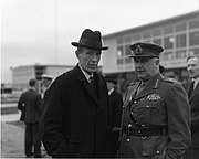 Author photo. Lord Halifax, British Ambassador to the United States (left), with an unidentified military officer waiting for the arrival of British Prime Minister Clement Attlee at the National Airport in Washington, D.C., November 10, 1945. (trumanlibrary.org)