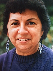 Author photo. Gloria Anzaldúa at Smith College, 1990 [credit: K. Kendall]