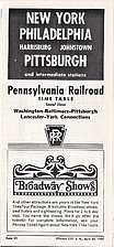 PRR Time Table New York - Pittsburgh 1967